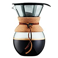 Cork , 34 oz. : Bodum 11571-109 Pour Over 1 L Coffee Maker with Permanent Filter, 34 oz, Cork Band