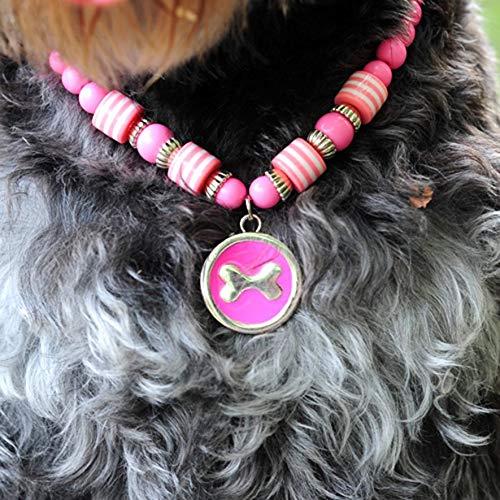 8Eninine Haustier Hund Katze Halskette runden Knochen Anhänger Acryl Perlen Haustiere Kragen Schmuck Pink (M) -