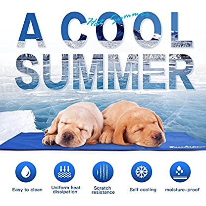 Lauva Dog Cool Mat, Dogs Self Cooling Non-Toxic Gel Mat Pads Mattress Pet Cat Cool Beds Extra Large for Dog Crates… 7