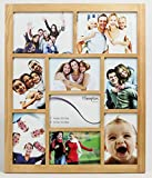 1232WO9 Gallery White Oak High Quality Rubberwood Seven 4x6in/A6 (10x15cm) & Two 5x7in (13x18cm) Beautifully Crafted Multi Aperture Photo Frame Wall Hang Only