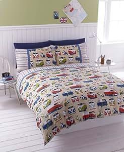 "#Bedding Campervans Duvet Quilt Cover Exclusive Colour ""Vintage"" (King (Includes 2 Pillowcases))"