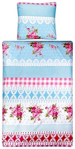 Aminata – Verspielte Bettwäsche Blumen Landhausstil 135×200 cm Baumwolle + Polyester + Reißverschluss - 2