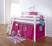 Noa and Nani Cabin Bed Mid Sleeper in White with Tent Pink Kids Bed
