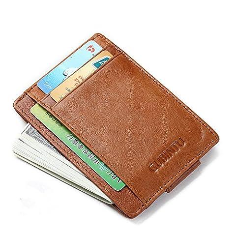 Ultra Slim RFID Wallet Money Clip Leather Credit Card Holder