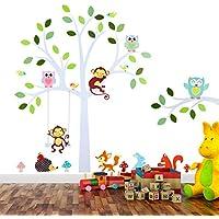 TALINU Wandsticker Motiv Baum Mit Blättern Und Tieren | Mit 2 Jahren  Zufriedenheitsgarantie | Wandaufkleber,