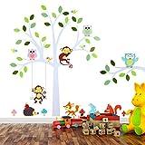 TALINU Wandsticker für Baby- oder Kinder-Zimmer; Motiv: Baum mit Blättern und Tieren – haftet an allen glatten und sauberen Oberflächen– Wand-Aufkleber, Wand-Tattoo, Wanddekoration