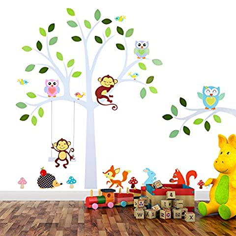 TALINU Wandsticker Motiv Baum mit Blättern und Tieren | mit 2 Jahren Zufriedenheitsgarantie | Wandaufkleber, Wandtattoo, Wanddekoration, Wand-Deko –Dekoration fürs Baby-oder Kinderzimmer, für glatte / saubere / trockene Oberflächen
