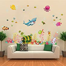 elecmotive pegatina para pared decorativos para decorar las de los nios ocano profundidad tropical peces