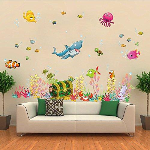 ElecMotive Pegatina para pared decorativos para Decorar Las habitaciones de los niños Océano Profundidad Tropical Peces 68 x 122 cm