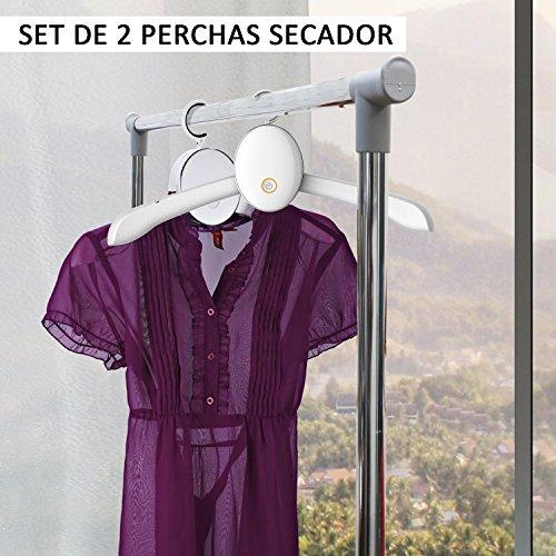 2 Perchas Secador de Ropa Portatil Secadora Electrica de Camisas con Temporizador 3 horas