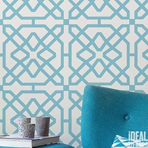 marokkanische Fliese Muster Schablone Heim Wand Dekor Kunst & Basteln Schablone Farbe Wände Stoffe & Möbel 190 Mylar wiederverwendbar Schablone - halb geschliffen Durchsichtig Schablone, L/ 37x37cm
