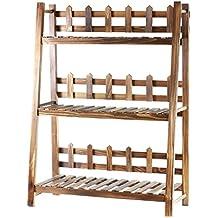 Estantería para macetas, con 3 pisos hechos de madera con enrejado