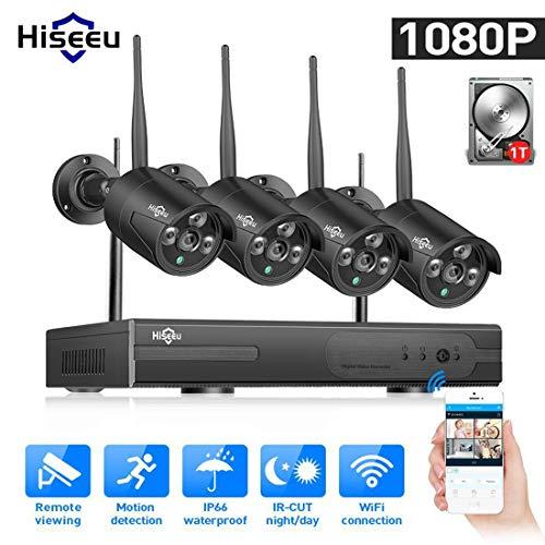 LLC - Hiseeu H.264 Sicherheitskamera System Wireless, 4CH 1080P Full HD Wireless CCTV KameraSystem 1TB Festplatte, 4PCS 2.0MP wasserdichte Kameras, P2P kostenlose APP einfache Fernbedienung True H. 264 Dvr