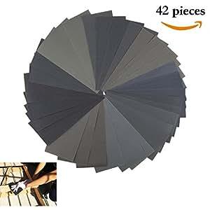 papier abrasif 42pcs papier de verre 120 3000 assortiment de gomme sec mouill 9 x 3 6 inch. Black Bedroom Furniture Sets. Home Design Ideas