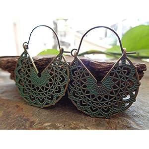 ✿ GUNMETALL PATINA AUSGESTANZTE MANDALAS ✿ aussergewöhnliche Ohrringe