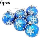 COOFIT 6PCS Christmas Ball Ornament Glitter Snowflake Printed Christmas Tree Decor Xmas Ball