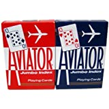 12 Decks Aviator Cards Red/Blue - Poker Size, Jumbo Index by Brybelly