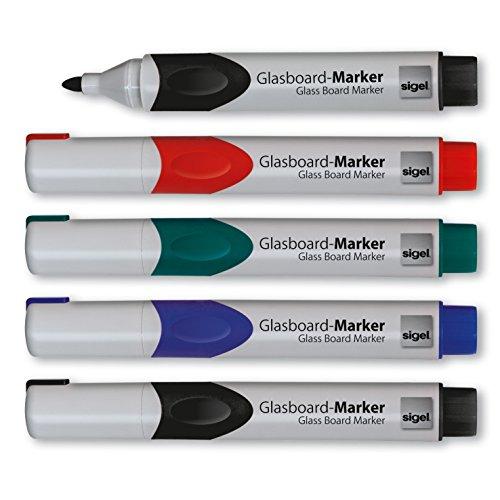 Sigel GL711 Glasboardmarker / Whiteboard-Marker, Rundspitze 2 - 3 mm, 5er Set abwischbar - weitere...