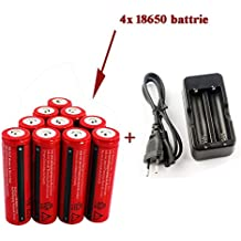 WiiFire Baterías Pilas recargables (paquete de 4pcs 3000mAh 3.7V 18650 Li - ion BRC bateria recargable para linterna LED antorcha, no para Cigarrillos electrónicos,) & Cargador Carga para 2 Batería Pila Litio BRC 18650 bateria recargable,no es adecuado para los cigarrillos electrónicos (Cigarrillos electrónicosMods)., no para Cigarrillos electrónicos