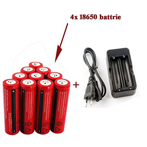 Foto de WiiFire Baterías Pilas recargables (paquete de 4pcs 3000mAh 3.7V 18650 Li - ion BRC bateria recargable para linterna LED antorcha, no para Cigarrillos electrónicos,) & Cargador Carga para 2 Batería Pila Litio BRC 18650 bateria recargable,no es adecuado pa