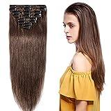 Extension a Clip Cheveux Naturel Rajout Cheveux Humains Vrai Cheveux – 100% Remy Human Hair - 8 Mèches (#04 Marron chocolat, 40cm-65g)