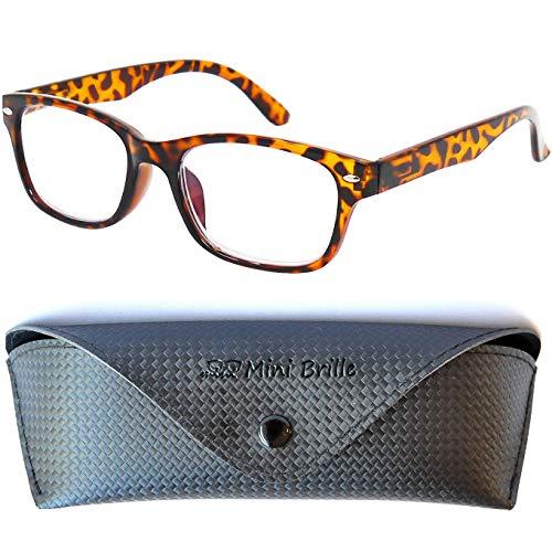 Modische Blaulichtfilter Lesebrille | Unisex Blaulichtbrille mit transparenten Gläsern | GRATIS Etui | Kunststoff Rahmen (Horn braun) | Anti Blaulicht Brille | +1.5 Dioptrien