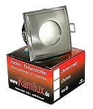 1er Set LED Badezimmer Einbaustrahler Deckenstrahler Water IP65 ROSTFREI Edelstahl-gebürstet inkl. GU10 5W Power Glas COB Led entspricht 50 Watt Lichtfarbe: WARMWEISS