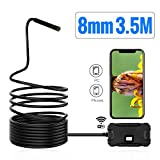 KKmoon Wireless Endoscope Camera HD1080p WiFi Borescope Inspection Camera Waterproof IP67 Flexible Snake Camera Y13 8.0mm for Phone Android Phone Tablet PC (3.5 Metes)