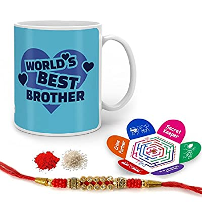 Indigifts Raksha Bandhan Gifts for Brother World's Best Bro Quote Printed Gift Set of Mug 330 ml, Crystal Rakhi for Brother, Roli, Chawal & Greeting Card - Rakhi Gifts for Brother, Rakshabandhan Gifts, Rakhi for Brother with Gifts