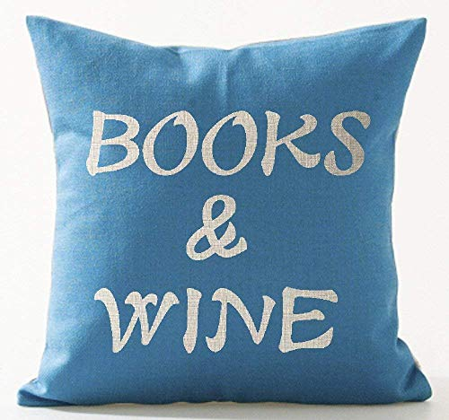 Book Lover Reading Book Club Funny Letters Books and Wine In Blue Cotton Linen Decorative Throw Pillow Case Cushion Cover Square 18