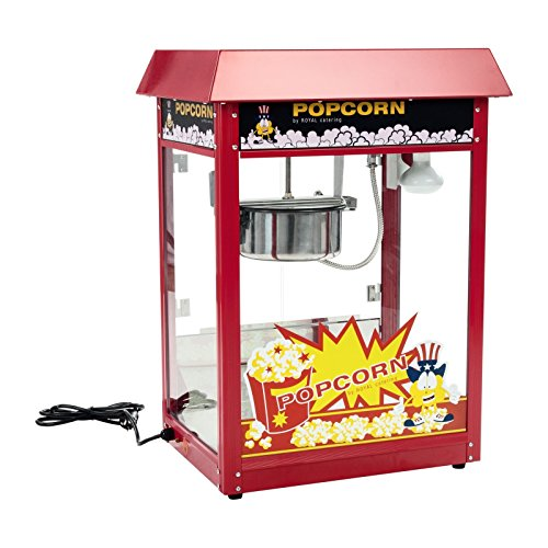 Royal Catering Popcornmaschine Popcornmaker RCPR-16E (1.600 W, Arbeitsleistung 5 kg/h 16 L/h, Topfdurchmesser 18,5 cm, Topfbeschichtung Teflon, inkl. Schaufel Messbecher) Rot