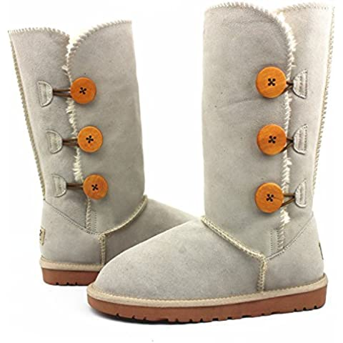 Europeos y americanos otoño e invierno la nieve mujer botas Gaotong genuino cuero del tendón en el extremo plana con Gaotong botas para la nieve botas calientes del ms , sand color , 38