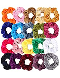 Fameza Multicolour Velvet Elastics Hair Ties Scrunchy Bands for Women -Pack  of 12 Pieces d892260ea56