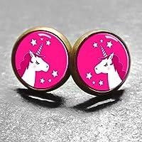 Polarkind Cabochon Ohrstecker Einhorn für Damen und Mädchen handmade pink 12mm antik-bronze