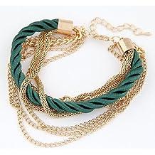 eBijoux 1367 - [VERDE] Bracciale da donna in Corda e Metallo 7 in 1 - (Verde Diamante Solitario Anello)