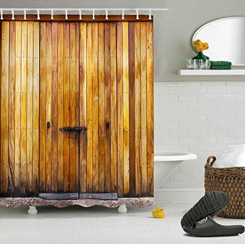 LB Personalizar Puerta de madera marrón Cortina de la ducha,Impermeable Resistente al moho Tejido de poliéster Cortinas de baño para baño, 180X180cm, 12 anillos