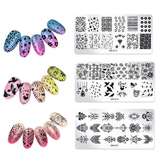 Hilai Linie Fischschuppen Design Nail Art Stamping Vorlage Illusion Grids Stanzplatte 3pcs (OM-D13, OM-D14, OM-D15)
