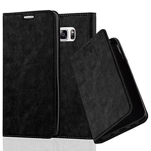 Cadorabo Hülle für Samsung Galaxy Note 5 - Hülle in Nacht SCHWARZ – Handyhülle mit Magnetverschluss, Standfunktion und Kartenfach - Case Cover Schutzhülle Etui Tasche Book Klapp Style
