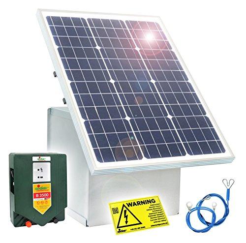 *Weidezaungerät mit 50W Solar Box & 12V Weidezaungerät B 3500 – 12V Gerät mit wahnsinnigen 4,60 JOULE – Nie wieder Batterie laden – Made in Germany*