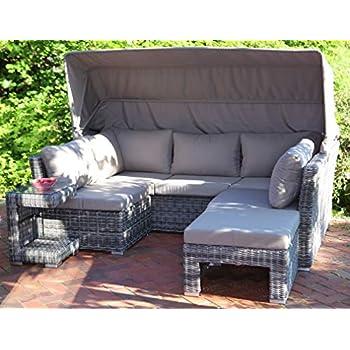 Amazon.de: Luxus grau Rattan Lounge Set mit Dach Outdoor 3