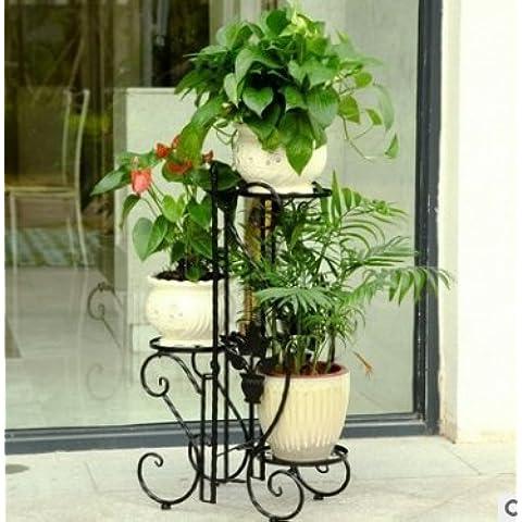 Arte ferro fiore rack Floor-Standing multistrato balcone esterno fiore concetto Stand Continental da giardino in ferro Vaso nero