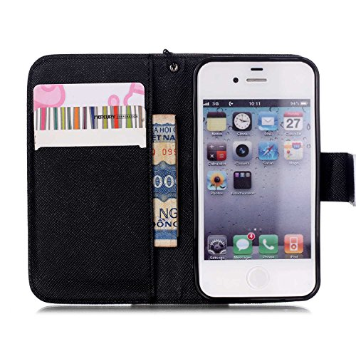 iPhone 4S Hülle,iPhone 4S Weiß Leder Handy Tasche Wallet Case Flip Cover Etui,iPhone 4S Cover,EMAXELERS iPhone 4S PU Leder Flip Wallet Case Hülle,Niedlich Muster Druck Cool Skull Blumen Design Back Hü Skull Flower 11