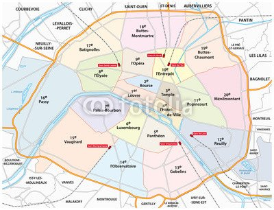 "Poster-Bild 50 x 40 cm: ""paris road and administrative map"", Bild auf Poster"