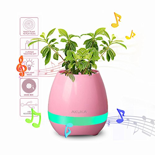 AKUICA TOKQI Smart Musik Blumentopf Smart Touch Musik Pflanze Lampe LED Nacht Licht Blumentöpfe, spielen Klavier auf eine echte Pflanze Musical Boxes Wiederaufladbare Wireless Bluetooth Lautsprecher, Weihnachten / Geburtstag Geschenk für Geliebte (Rosa)