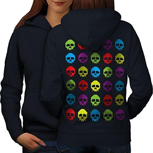 pixel Nerd crânes Geek Femme S-2XL Sweat à capuche le dos | Wellcoda Bleu