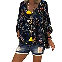 Aooword Women's Long Sleeve Plus Size Butterfly Print Blouses Tops Shirts Purplish Blue 3XL