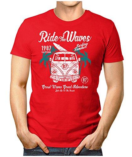 PRILANO Herren Fun T-Shirt - RIDE-THE-WAVES-BULLI - Small bis 5XL - NEU Rot