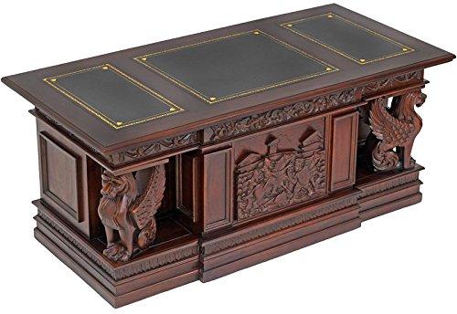 MOREKO Antik-Stil Schreibtisch Massivholz Mahagoni Arbeitstisch Schreibeinlage schwarz (Schreibtisch Antik Schwarz)