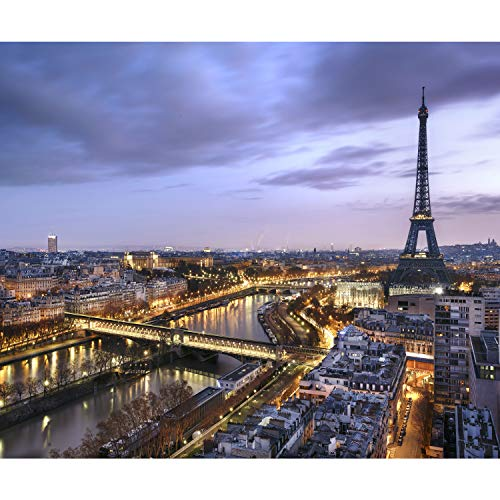 decomonkey Fototapete Paris Stadt 400x280 cm XL Tapete Wandbild Bild Fototapeten Tapeten WandtapeteWandtapete Eiffelturm Architektur Frankreich Licht Brücke Himmel Blau FOB0266a84XL