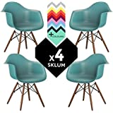 SILLA EAMES DSW (Pack 4) - SILLÓN DAW TOWER WOOD Azul Turquesa Intenso - (Elige Color) SKLUM